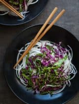 Daikon Noodles with Red Cabbage, Spinach Slaw and Sesame Mustard Dressing