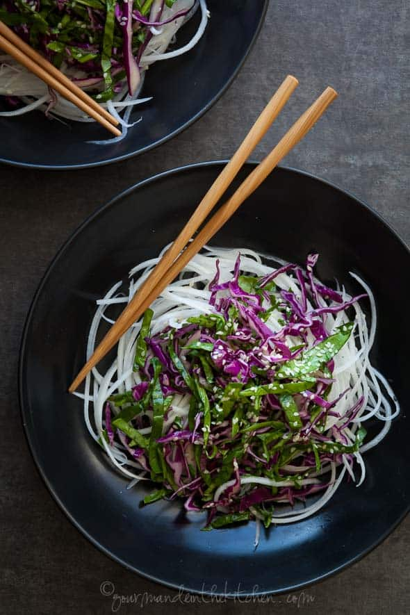 Daikon Noodles with Red Cabbage, Spinach Slaw and Sesame Mustard Dressing   gourmandeinthekitchen.com