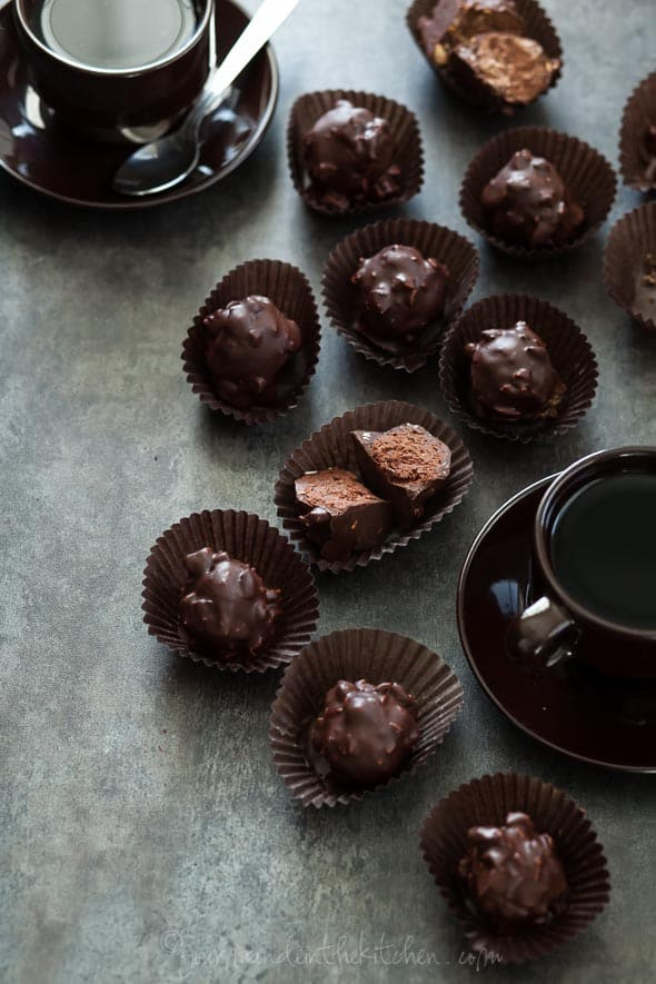 Almond Praline Chocolate Rochers in Paper Cups