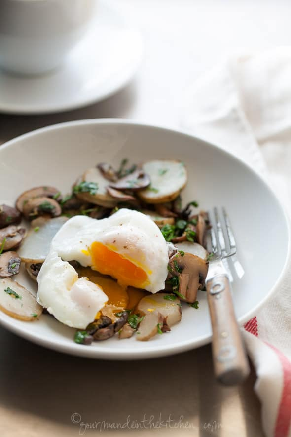 Sautéed Sunchoke (Jerusalem Artichoke) and Mushroom Persillade Topped with a Poached Egg