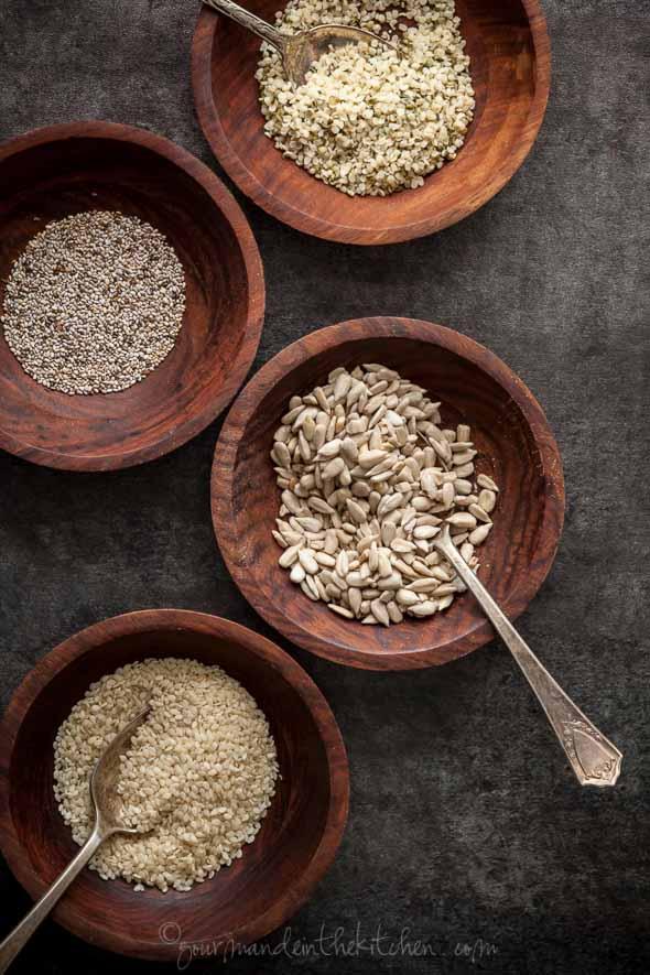 hemp seeds, chia seeds, sesame seeds, sunflower seeds