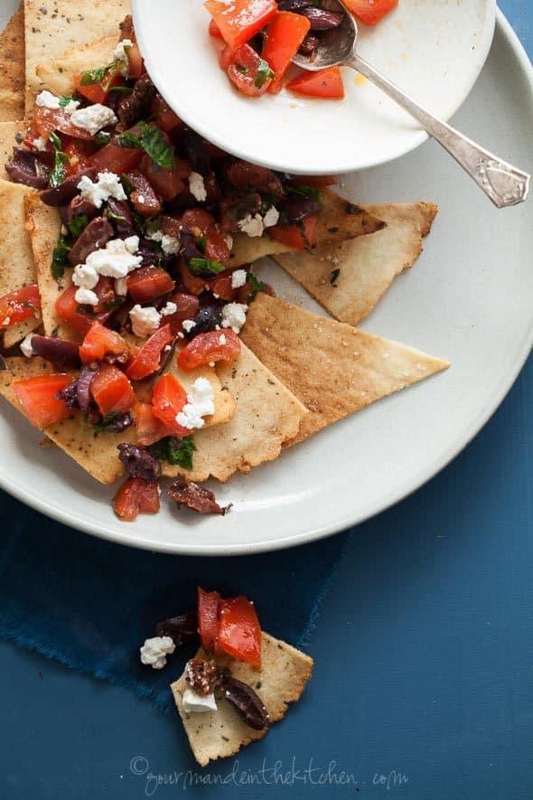 Grain-Free Pita Chip Mediterranean Style Nachos Close Up