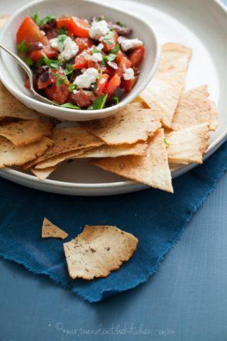 Mediterranean Style Nachos with Grain-Free Pita Chips