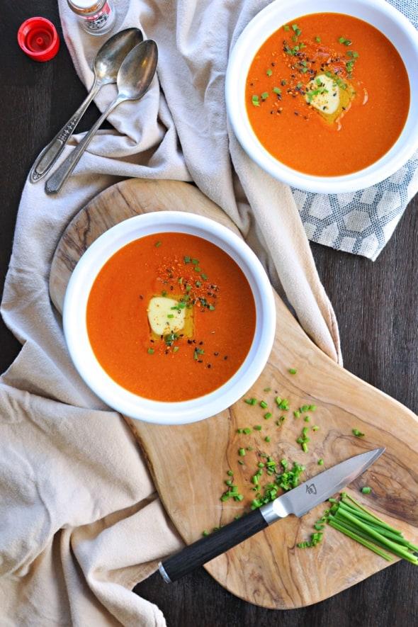 Buttered Miso-Tomato Soup with Roasted Garlic + Togarashi (GF)