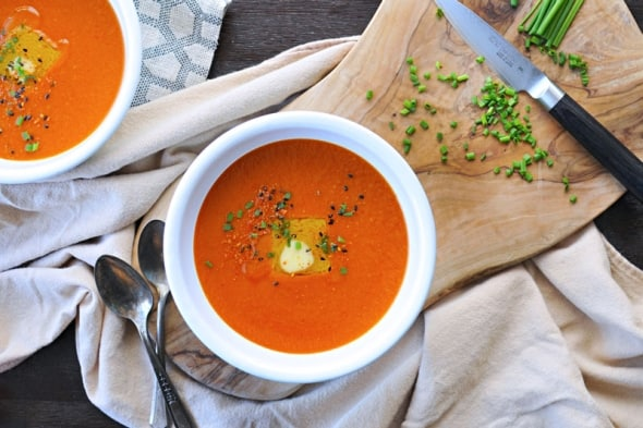 Buttered Miso-Tomato Soup with Roasted Garlic + Togarashi (GF)