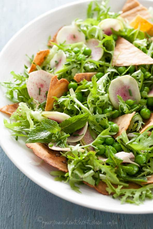 Spring Gluten-Free Fattoush Salad Close Up