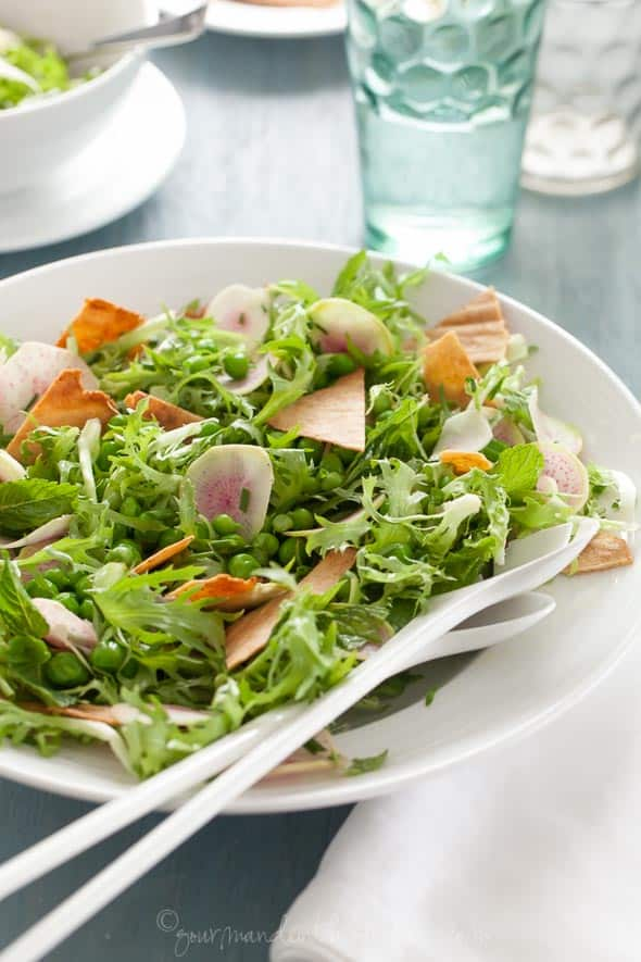 Spring Gluten-Free Fattoush Salad with Serving Spoons