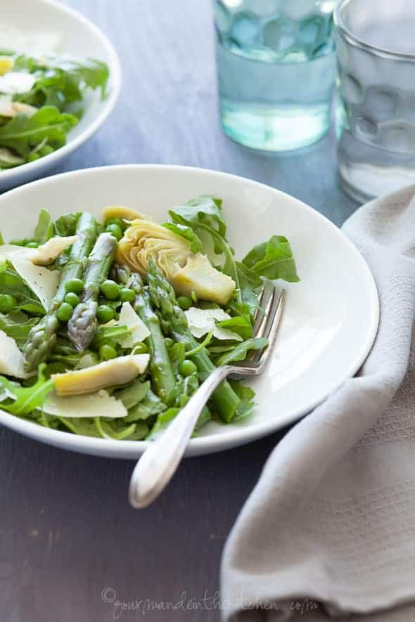 Spring Asparagus Artichoke Salad with Chive Vinaigrette in Plate with Napkin