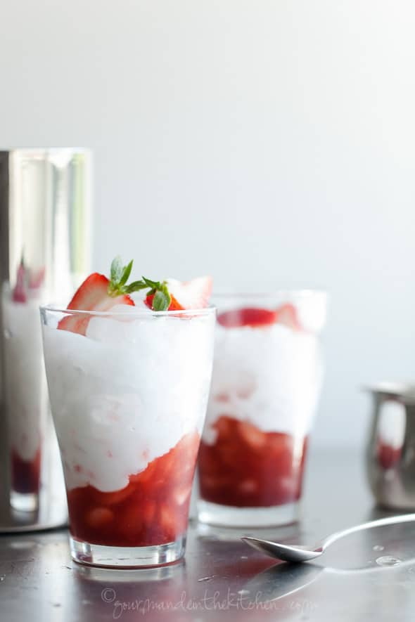 Dairy-Free Balsamic Roasted Strawberry Italian Cream Soda in Glasses