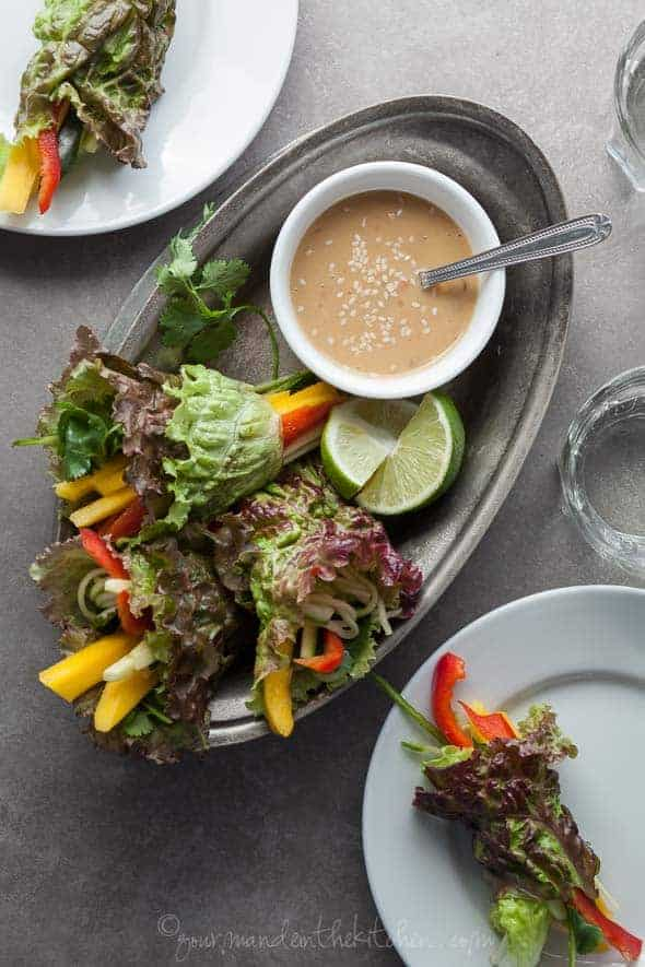 Raw Vegetable Summer Rolls with Triple Sesame Dipping Sauce in Serving Dish