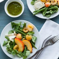 Peach, Cherry and Green Bean Salad with Basil Vinaigrette