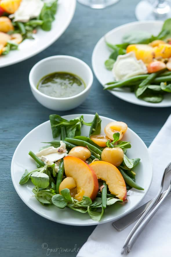 Peach, Cherry and Green Bean Salad with Basil Vinaigrette