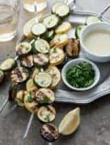 Grilled Summer Squash and Zucchini Skewers with Tahini Yogurt Sauce