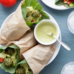 Raw Falafel Wraps with Parsley Tahini Sauce