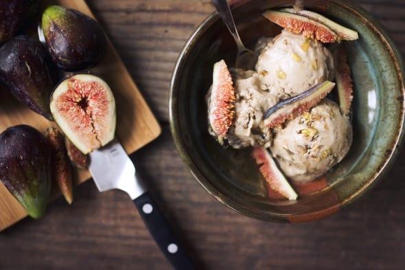 Dairy-Free Caramelized Fig Ice Cream Overhead
