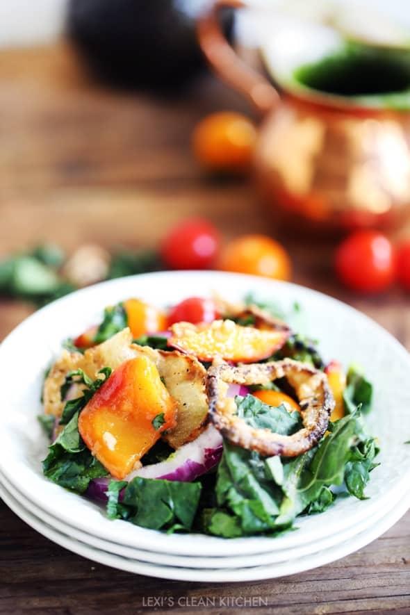 Caramelized Peach & Crispy Onion Salad