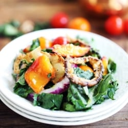 Caramelized Peach & Crispy Onion Salad