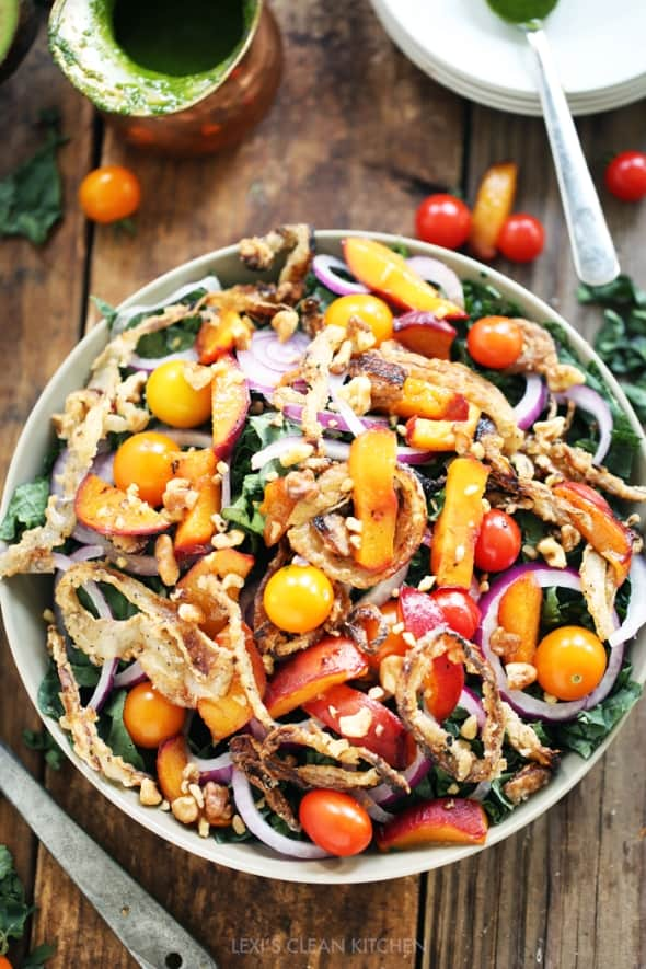 Chopped Kale, Caramelized Peach & Crispy Onion Salad Overhead