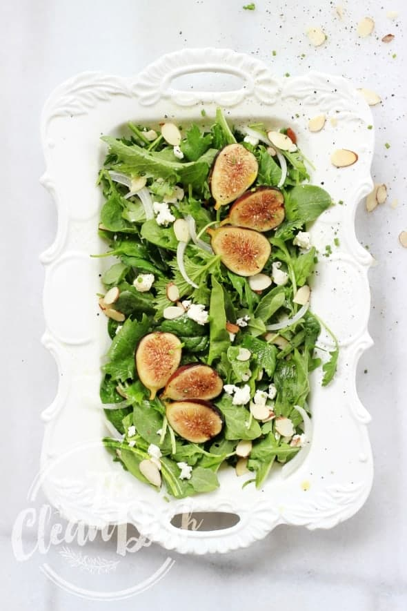 Chèvre and Fresh Fig Salad with Honey Poppy Seed Vinaigrette on Serving Platter
