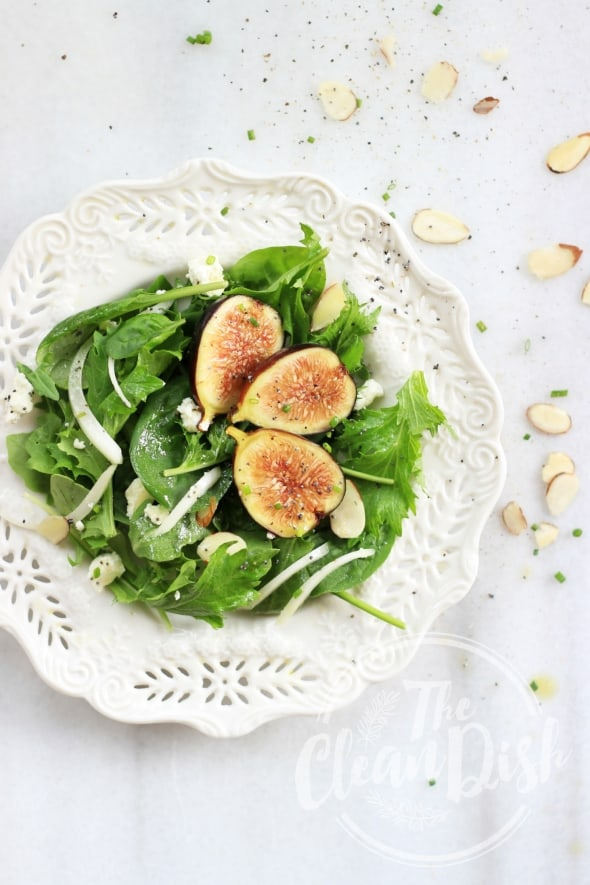 Chèvre Fresh Fig Salad with Honey Poppy Seed Vinaigrette on Plate