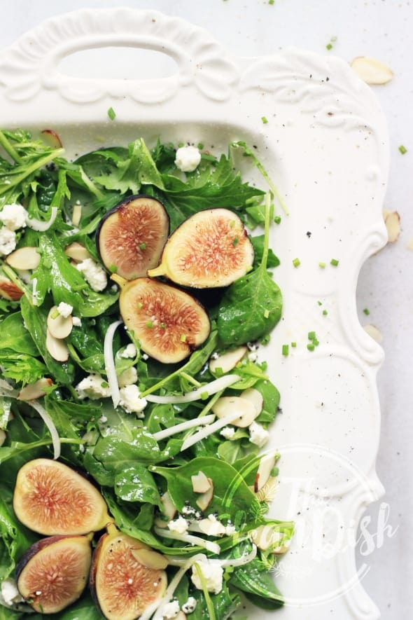 Chèvre and Fresh Fig Salad with Honey Poppy Seed Vinaigrette Top View