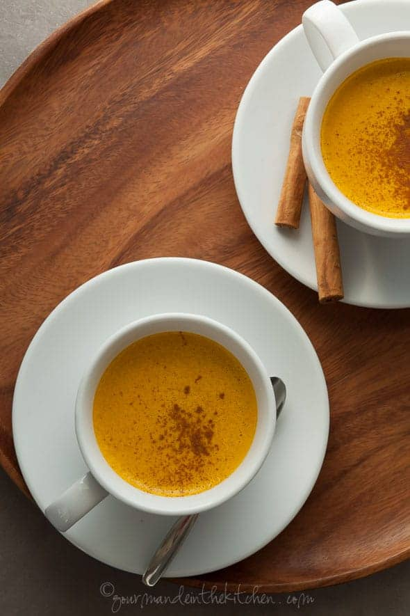 Sweet Potato Pie Spiced Turmeric Milk on Serving Platter