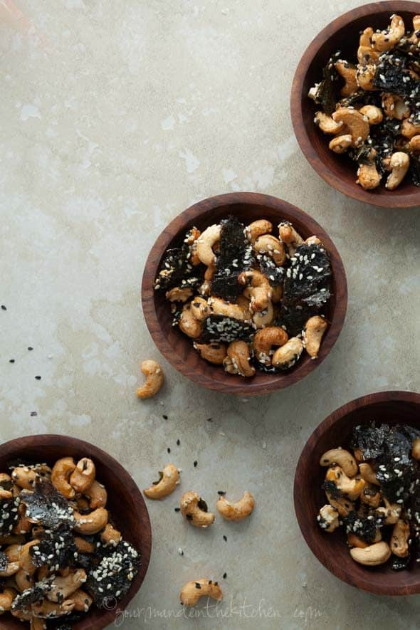 Sesame Nori Roasted Cashews in Small Wood Bowls
