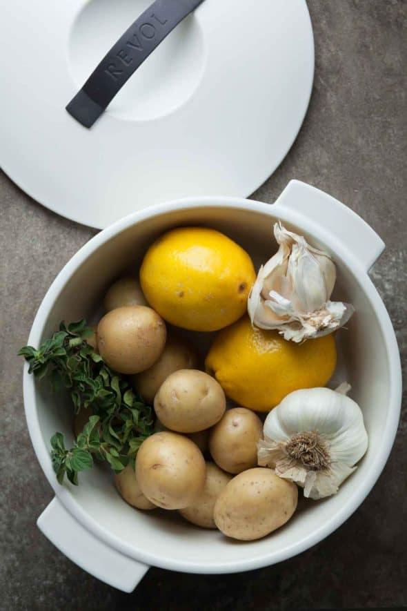 Greek Style Lemon Potatoes Ingredients in Pot