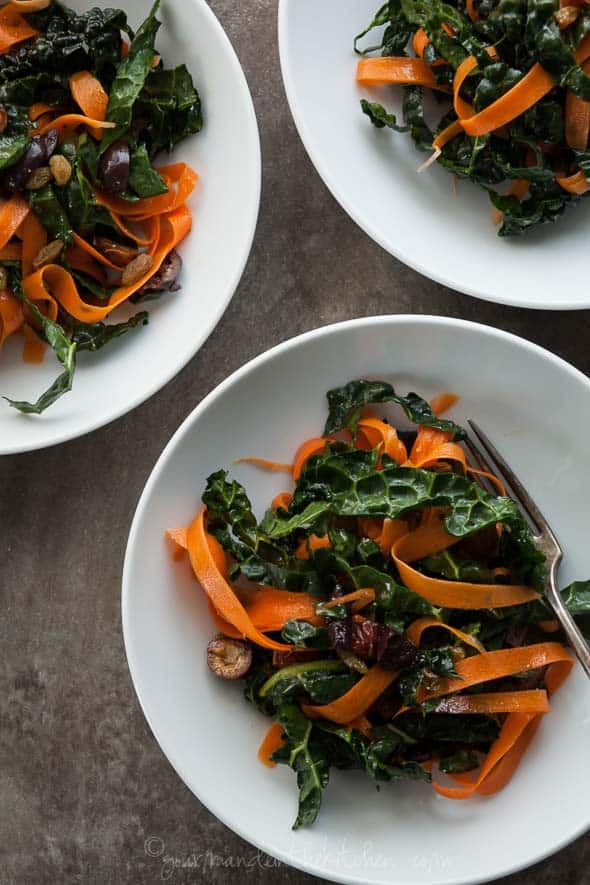 Moroccan Kale and Carrot Ribbon Salad Recipe  | Gourmande in the Kitchen