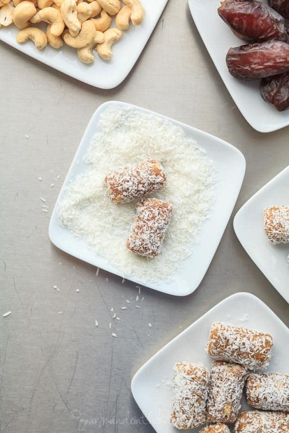 Cashew Coconut Date Rolls on Plate