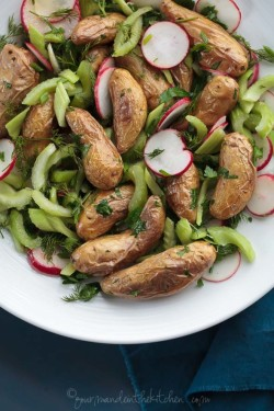 A fresh mayo-less potato salad with roasted fingerling potatoes, celery, radishes and herbs.