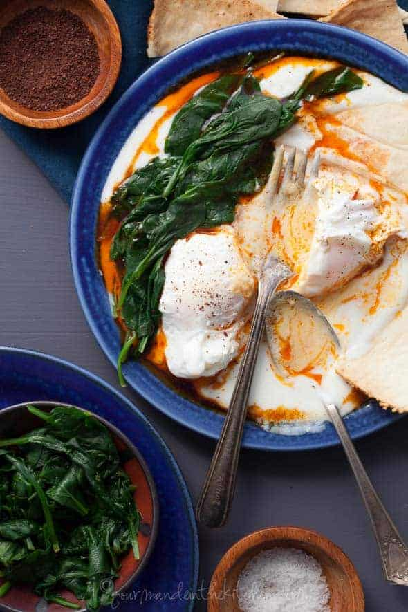 Turkish Poached Eggs with Paprika Oil (Çılbır) on Plate