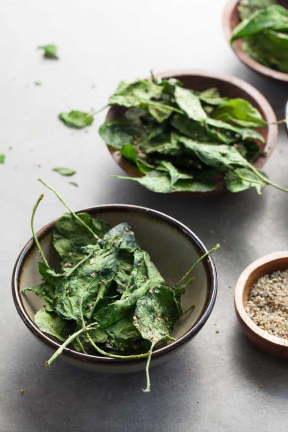 Japanese Seasoned Baked Spinach Chips in Serving Bowl
