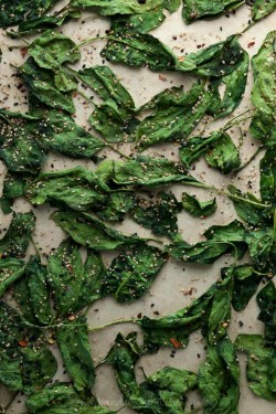 My afternoon snack obsession these days are these Japanese seasoned spinach chips. Laced with sea salt and sesame, they satisfy that savory, crunchy craving.