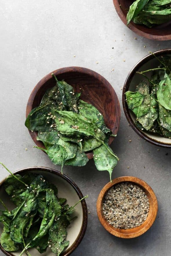 Japanese Seasoned Baked Spinach Chips in Bowls