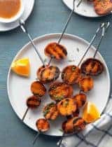 Miso-Orange Glazed Grilled Sweet Potatoes