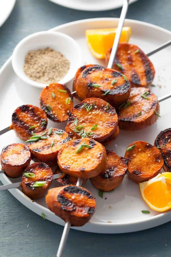 Miso-Orange Glazed Grilled Sweet Potatoes on Plate