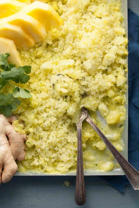 Pineapple Ginger Cilantro Granita: With only 4 ingredients, dessert doesn't get any simpler, you just blend, freeze and scrape, no ice cream machine needed.