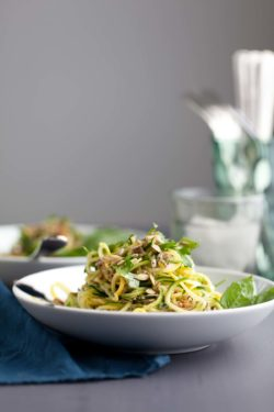 With the heat already on the rise, a no-cook summer squash noodle dish offers some salvation and makes a tasty alternative to lettuce based salads.