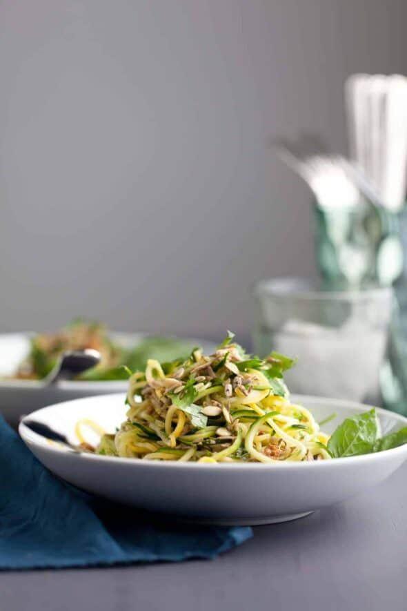 Spiralized Summer Squash Noodles with Basil Lime Dressing Close Up