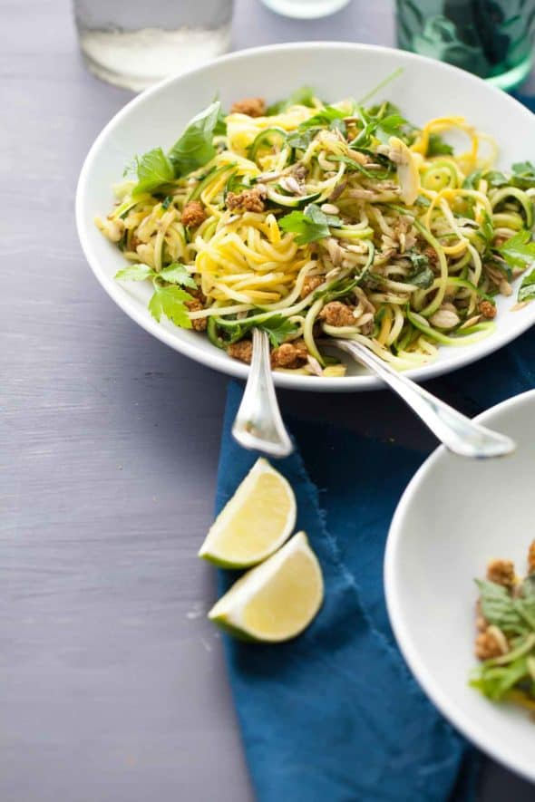 Spiralized Summer Squash Noodles with Basil Lime Dressing in Bowl