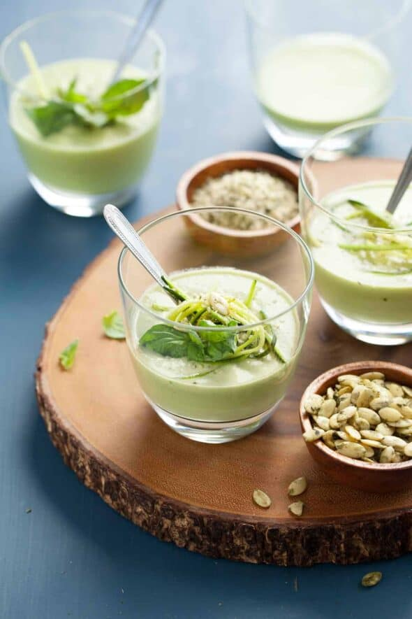 Chilled Zucchini Basil Soup in Glasses on Serving Board