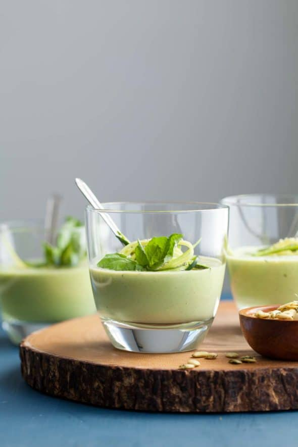 Chilled Zucchini Basil Soup in Glasses