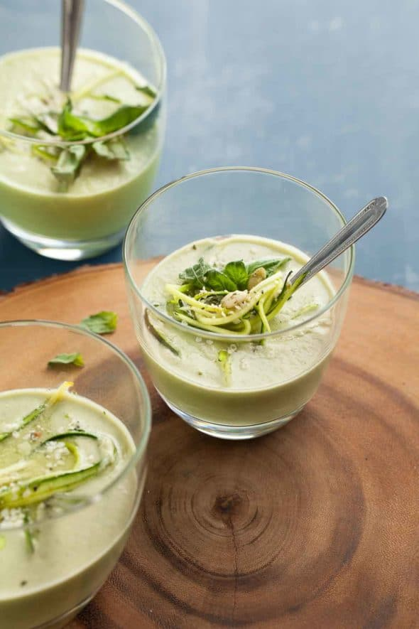 A light and creamy zucchini basil soup that can be enjoyed either hot or cold depending on the the time of year.