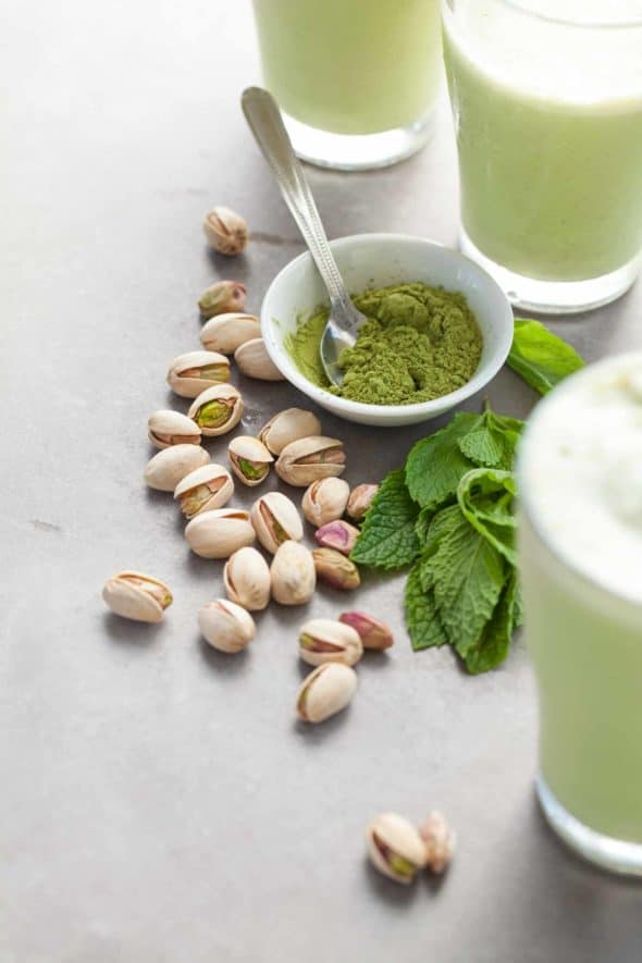 If you're looking for a coffee-free way to start off the day or get you through the afternoon then look no further than this iced matcha mint pistachio frappé.
