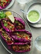 Raw Vegan Tacos with Spicy Zucchini Salsa and Creamy Cilantro Sauce