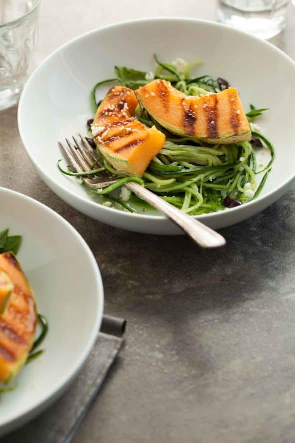 Grilled Melon Salad with Cucumber Noodles Side View