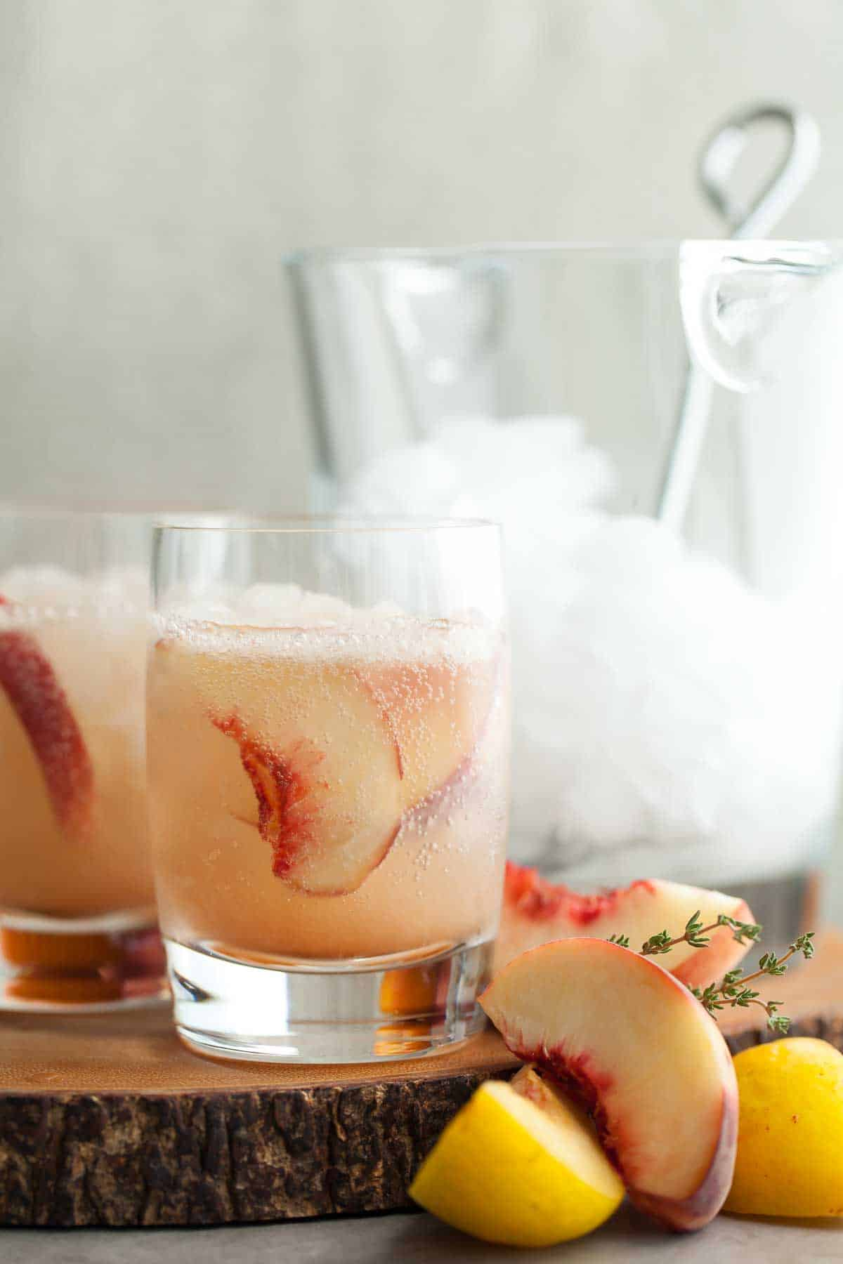 This sweet/tart stone fruit and thyme shrub makes a refreshing all natural soda.
