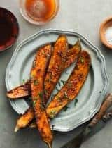 Honey Harissa Spicy Roasted Eggplant