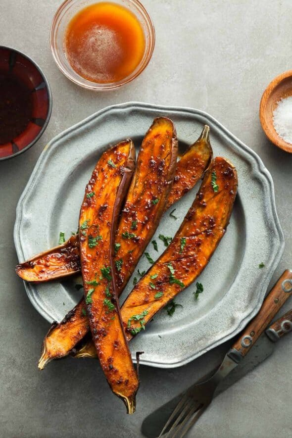 Honey Harissa Spicy Roasted Eggplant on Plate